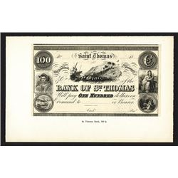 Bank of St. Thomas. Reprint Issue Proof (Reprinted 1900-1915 from Original Plates).