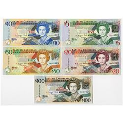 Eastern Caribbean Central Bank, 2008 Issue Complete set.