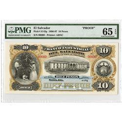 Banco Industrial Del Salvador, 1896-1897 Proof Banknote.