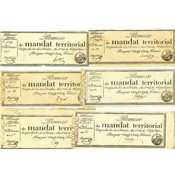 Promesses De Mandats Territoriaux, 1796 Issue Assortment.