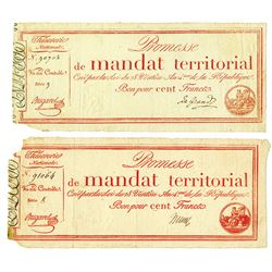 Promesses De Mandats Territoriaux, 1796 Issue Pair.