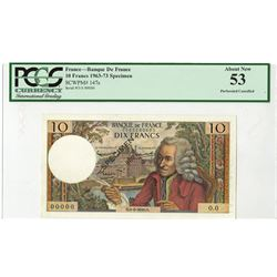 Banque de France, ND (1963-1973), Specimen Note