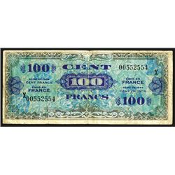France. World War II Allied Military Currency. 100 Franc Replacement note.