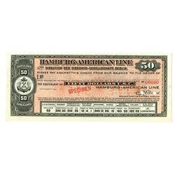 Hamburg-American Line, ND (ca.1910-20) Specimen Traveler's Check.