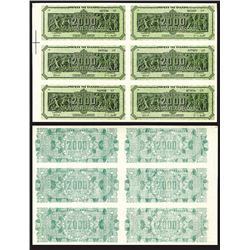 Bank of Greece 1944 Inflation Issue Specimen Uncut Sheet of 6.