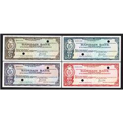 Rafidain Bank, ND (ca.1940-60's) Specimen Traveler Check Quartet.