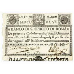 Banco Di S. Spirito Di Roma, 1786 Issue Banknote.