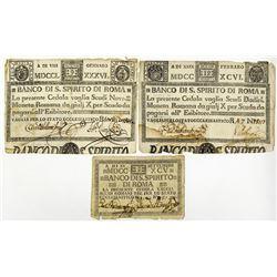 Banco Di S. Spirito Di Roma, 1786-1795 Issue Banknote Trio.
