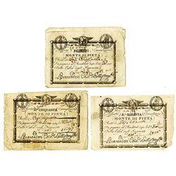 Prima Repubblica Romana, Monte di Pieta', 1798, Trio of Assignats