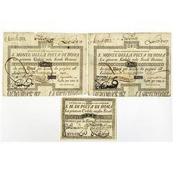 S. Monte Di Pieta A' Di Roma, 1789 Issue Banknote Trio.