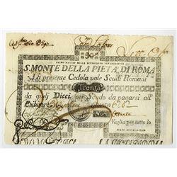 S. Monte Di Pieta A' Di Roma, 1792 Issue.