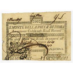 S. Monte Di Pieta A' Di Roma, 1798 Issue.