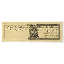 Torino il Primo Luglio 1780, Issued Banknote.