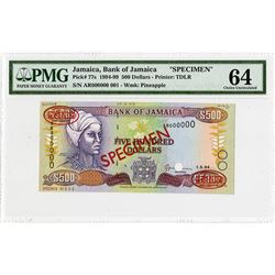 Bank of Jamaica, 1994 Specimen Banknote.