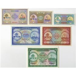 Maldivian State, 1947-1951, Specimen Set of 6 Notes