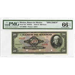 Banco De Mexico, 1940-43 Specimen Banknote.