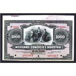 Bono De Caja, El Banco Mexicano De Comercio E Industria, ND (ca.1900-1910) Specimen Banknote.