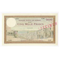 Banque d'Etat du Maroc, ND (ca. 1938), Specimen Note