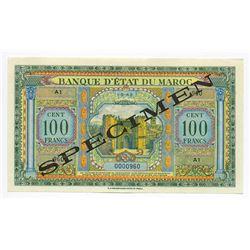 Banque d'Etat du Maroc, 1943, Specimen Note