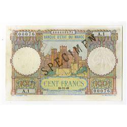 Banque d'Etat du Maroc, 1948, Specimen Note