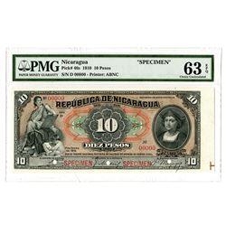 Republica de Nicaragua. 1910 Specimen Banknote.