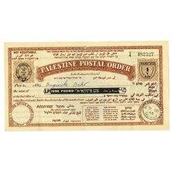 Palestine Postal Order, 1945 Issued Certificate.
