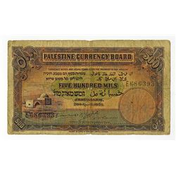 Palestine Currency Board, 1939 Issued banknote.