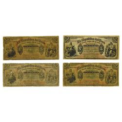La Republica del Peru, 1879 Issue Banknote Quartet with 3 Different Series and Serial Number sizes.