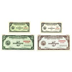 Central Bank of the Philippines, 1949 Issue Color Trial Banknote Quartet by SBNC.