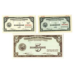 Central Bank of the Philippines, 1949 Issue Color Trial Banknote Trio by SBNC.