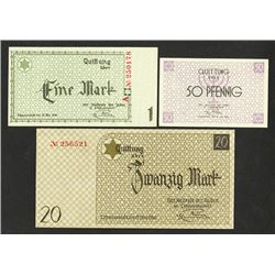 Litzmannstadt 1940 Concentration Camp-Ghetto Currency Trio.
