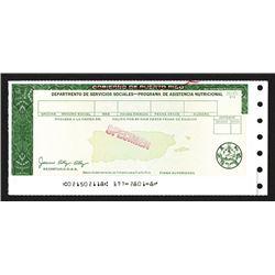 Gobierno De Puerto Rico, Specimen Government Food Warrant.