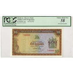 Reserve Bank of Rhodesia, 1972, £5 Specimen Banknote