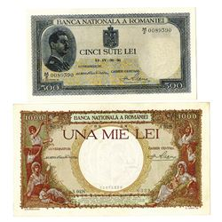 Banca Nationala a Romaniei, 1936, Pair of Issued Notes