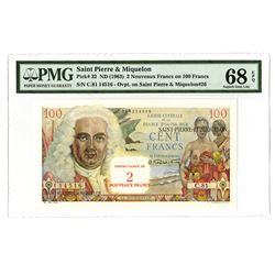 "Saint Pierre & Miquelon, ND (1963) Tied with Finest Known ""Nouveaus Francs"" Issue Banknote."