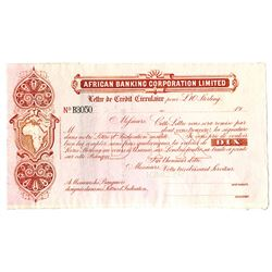 South Africa, African Banking Corporation Limited, 19xx (ca.1900-1910) Specimen Letter of Credit.