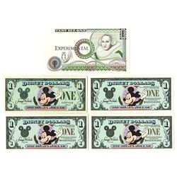 Walt Disney, 1980s-1990s, Group of 5 Issued Notes