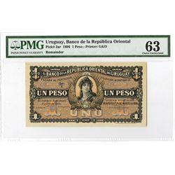Banco De La Republica Oriental Del Uruguay, 1896 Specimen/Proof Banknote.