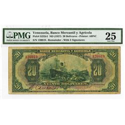 Banco Mercantil y Agricola, ND (1927) Remainder with 2 Signatures Banknote.