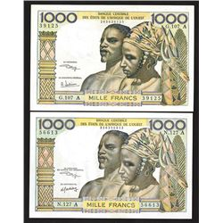 Banque Centrale des Etats de l'Afrique de l'Ouest, 1959-65, Pair of Issued Notes