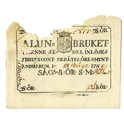 Sweden, Alun=Bruket, 1766  Issued Private Banknote.
