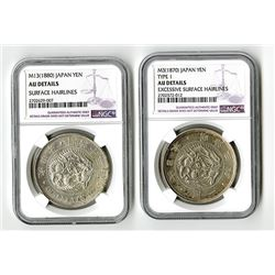 Japan, Empire, 1870 and 1880 Silver Yen Pair.