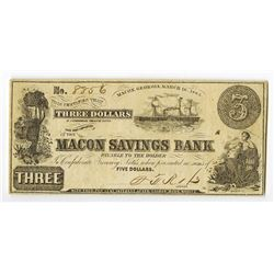 Macon Savings Bank, 1863 Issued Obsolete Banknote.