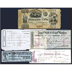 New Orleans and Louisiana Lot of Checks, Obsolete Banknotes and Exchanges ca.1837-1894