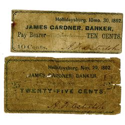 James Gardner, Bankers, November 1862 Obsolete Scrip Note Pair.