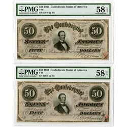 Confederate States of America, 1864, T-66, Sequential Pair.