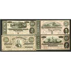 Confederate States of America, 1864 High grade Banknote Quartet.