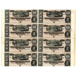 Confederate States of America, 1864 Uncut Sheet of 8 Remainder Notes.