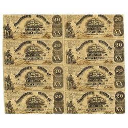 Confederate States of America, September 2nd, 1861, $20 Uncut Sheet of 8 Notes.