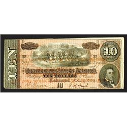 CSA 1864 $10 Note with 1878 Overprint on back with Advertisement for Railroad Route to N.Georgia Fai